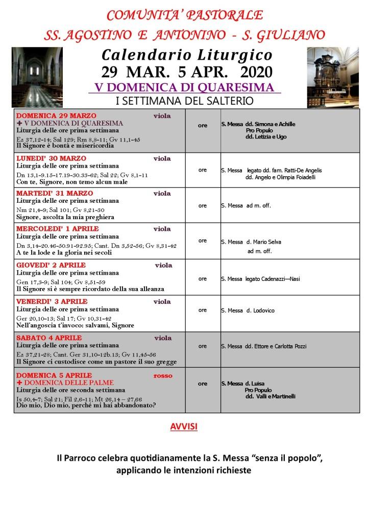 CALENDARIO LITURGICO V Quaresima