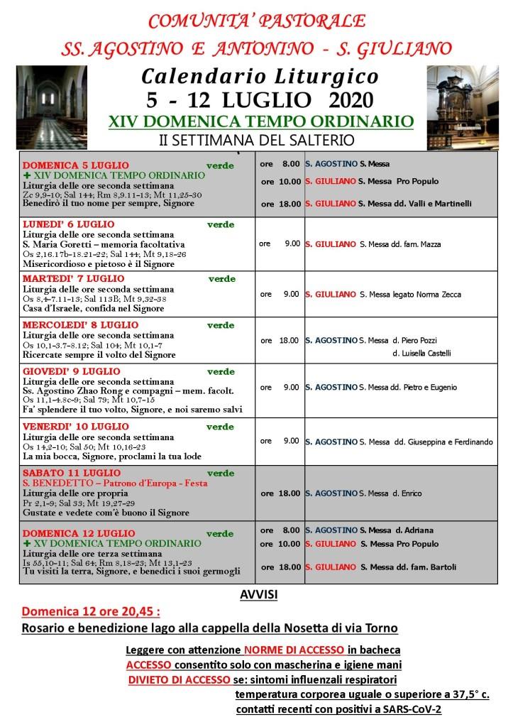 CALENDARIO LITURGICO XIV Domenica