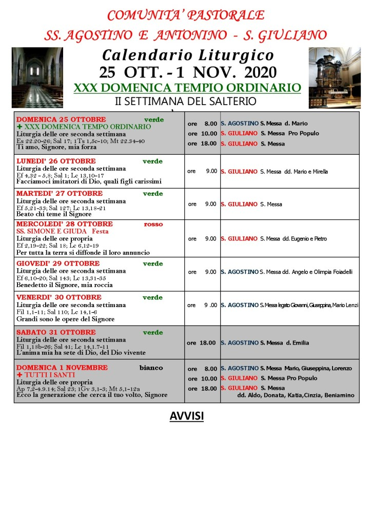 CALENDARIO LITURGICO XXX Domenica